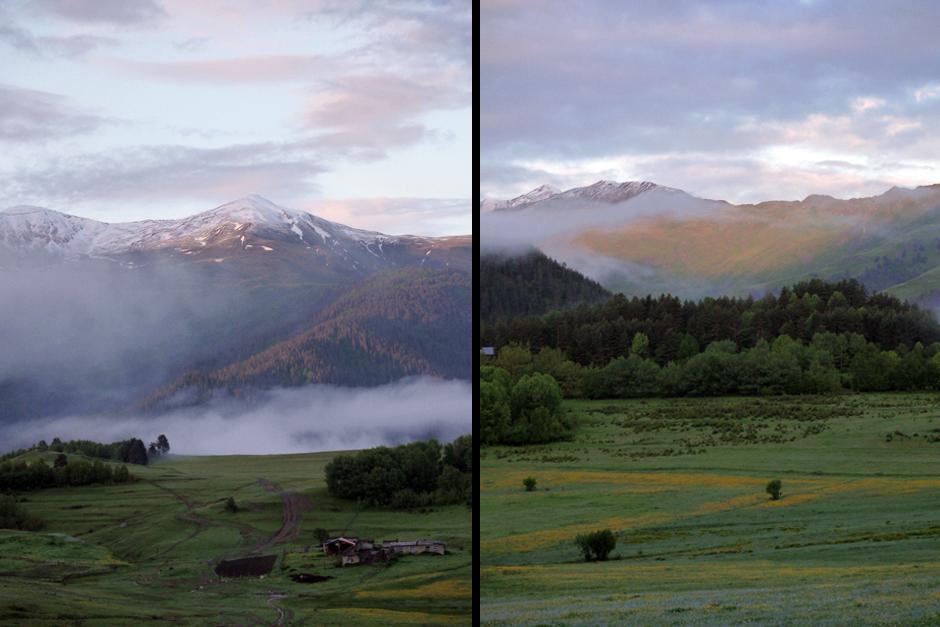 Poranek w górach Kaukazu - zdjęcia z Gruzji