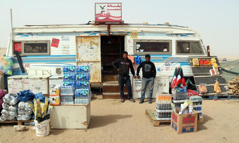 Bazar w Kuwejcie - sprzedawcy z Nepalu