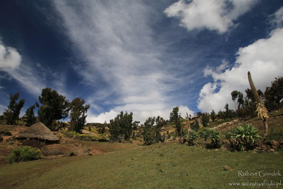 Afrykańska wioska w górach Semien