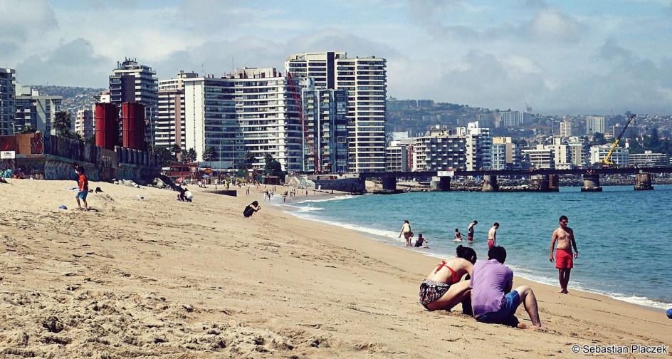 Plaża w Vina del Mar, podróż przez Chile