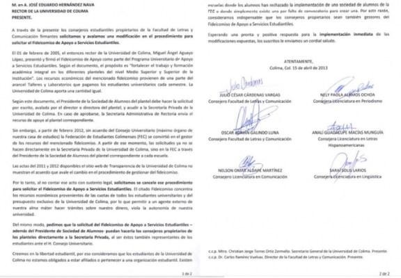 Documento entregado por los seis consejeros estudiantiles propietarios de la FALCOM al rector de la Universidad de Colima, José Eduardo Hernández Nava.