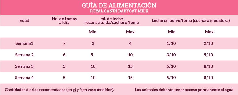 Guía de Alimentación Royal Canin Babycat Milk
