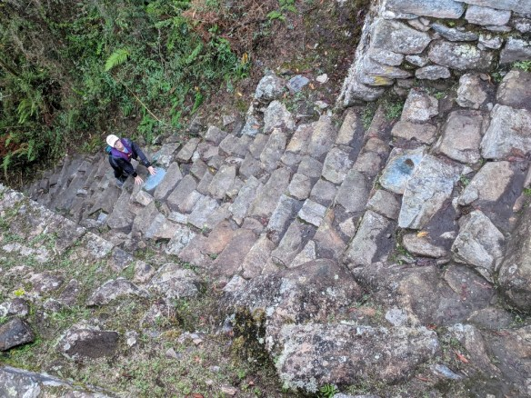 Steep Inca Steps, shortly before reaching the Sun Gate