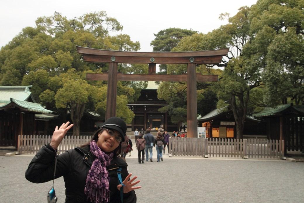 Torii en la entrada del templo Meiji