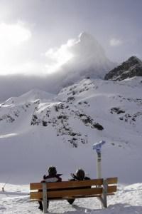 Mirador al Matterhorn en las pistas de esquí de Zermatt, Suiza