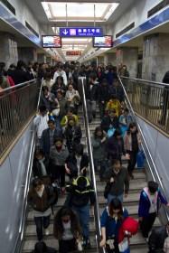 Tráfico humano en el metro de Pekín, China