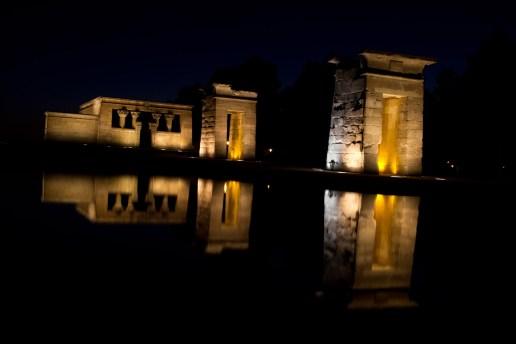 Templo de Debod de noche, Madrid, España