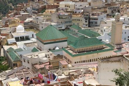El Mauseoleo de Moulay Idriss visto desde la petite terrasse, Moulay Idriss, Marruecos