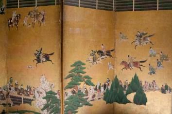 Una representación de un inuoumono o la caza del perro, en el Museo Nacional de Tokio, Japón.