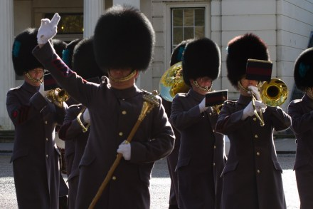 Banda de música durante el cambio de la guardia del Palacio de Buckingham, Londres, Inglaterra