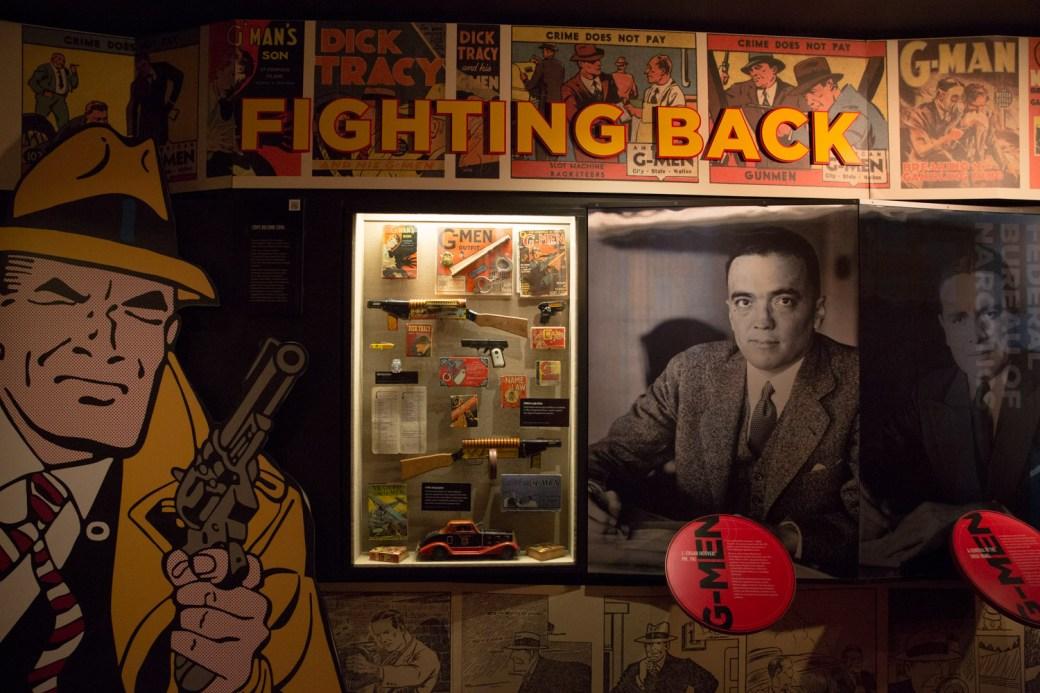 Exhibición sobre las fuerzas de la ley, The Mob Museum, Las Vegas, EE.UU.