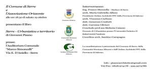"""Sabato 19 ottobre interessante evento culturale a Serre: presentazione del libro """"Serre – Urbanistica e territorio"""" dell'Architetto Giovanni Pisano"""