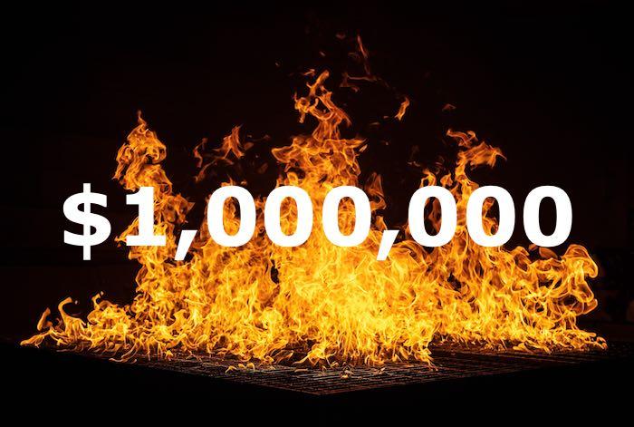 آتش زدن یک میلیون دلار