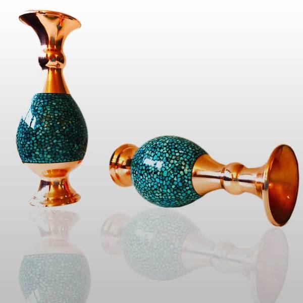 turquoise inlaid vases