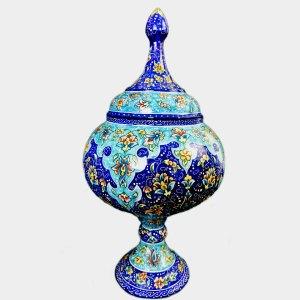 Deep blue pedestal candy dish
