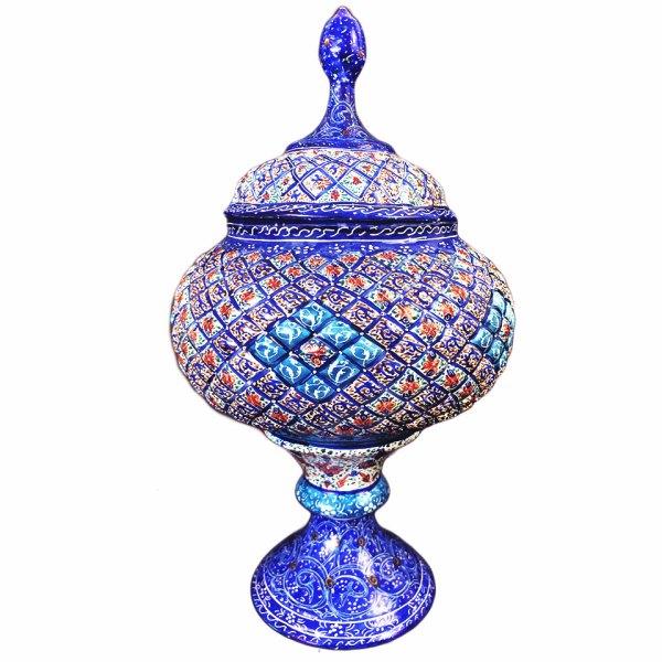 enamel blue pedestal candy dish