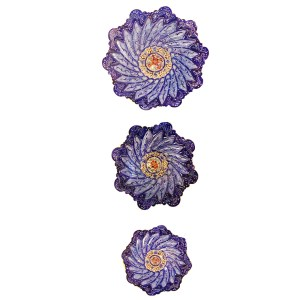 collection of 3 enamel flower shape plats