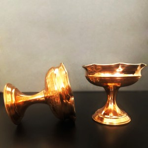 Copper flower shape bowl with pedestal