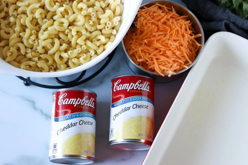 cans of cheddar cheese soup with noodles