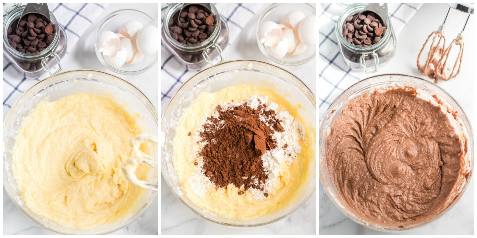 collage of overhead shots of cake batter in mixing bowl