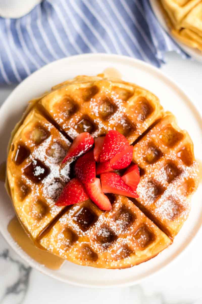 Buttermilk waffles are so easy to make from scratch - all you need is one bowl, a whisk, and a few everyday ingredients. Ditch the mix and give these homemade waffles a try! | www.persnicketyplates.com