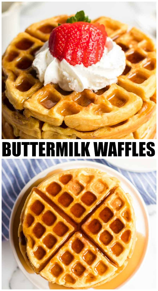 Buttermilk waffles are so easy to make from scratch - all you need is one bowl, a whisk, and a few everyday ingredients. Ditch the mix and give these homemade waffles a try! | www.persnicketyplates.com #breakfast #waffles #brunch #easyrecipe