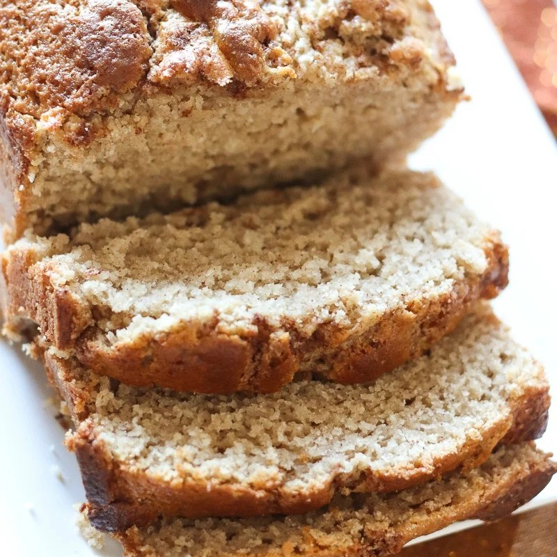 sliced cinnamon quick bread on white plate