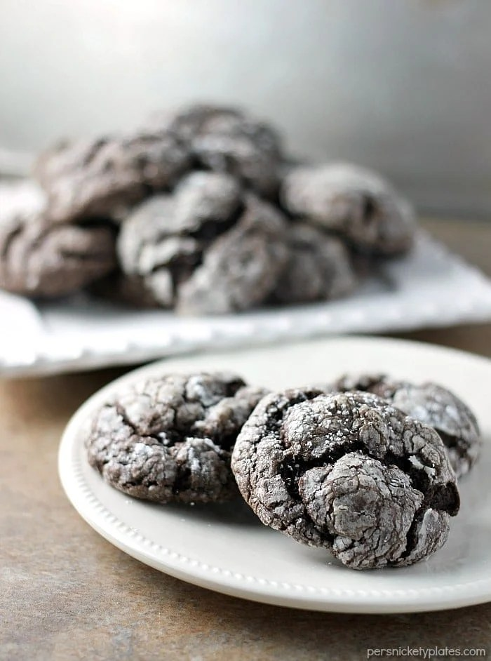 chocolate gooey butter cookies sprinkled with powdered sugar