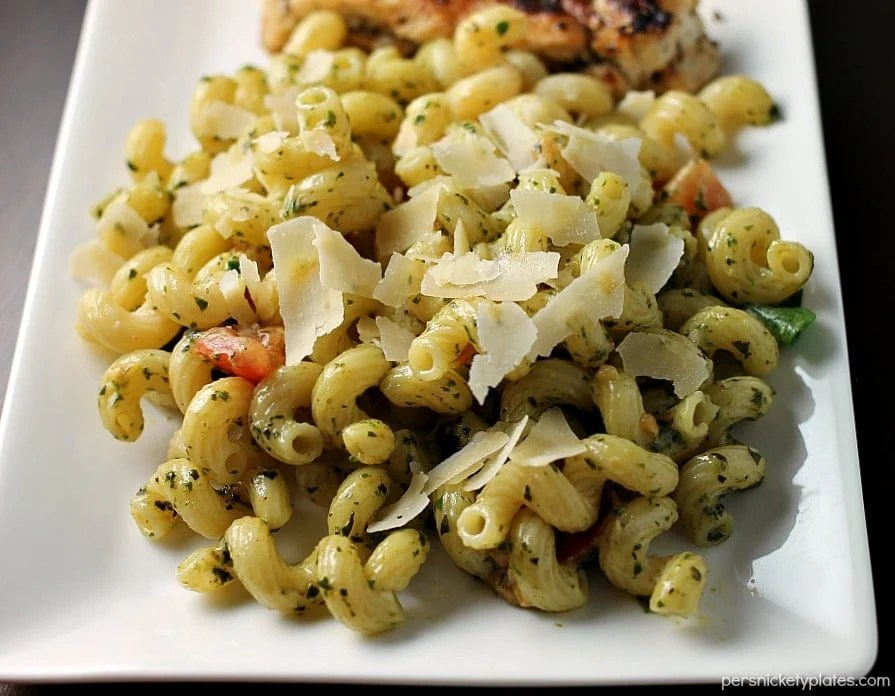 Pesto Cavatappi is one of my favorite dishes from Noodles & Company. This homemade pasta dish with fresh pesto sauce is a perfect comfort food dish.