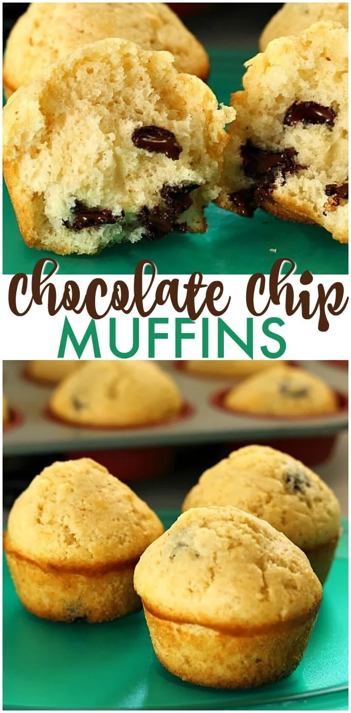 Simple Chocolate Chip Muffins that verge on cupcakes. Acceptable for breakfast but also perfect for dessert. | www.persnicketyplates.com