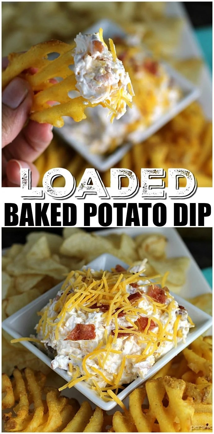 Loaded Baked Potato Dip only has three ingredients and is perfect for game day snacking. If you love loaded baked potatoes, you'll love dipping your chips or potato wedges into this simple dip! | www.persnicketyplates.com