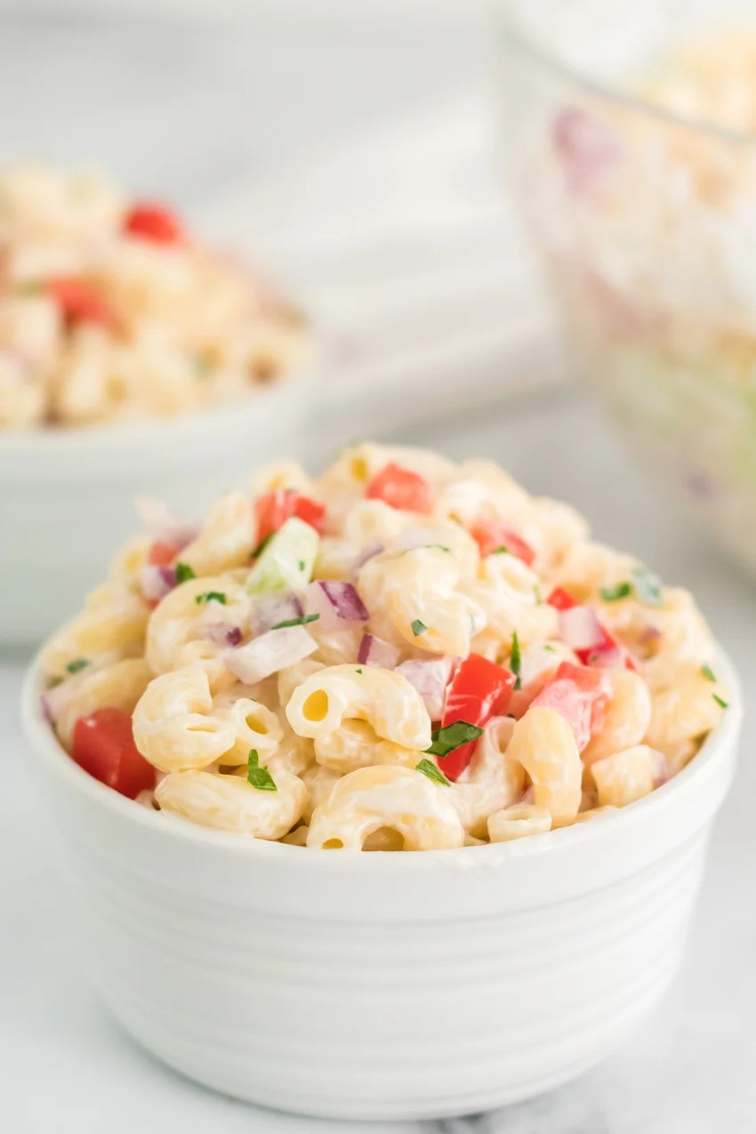 macaroni salad in white bowl