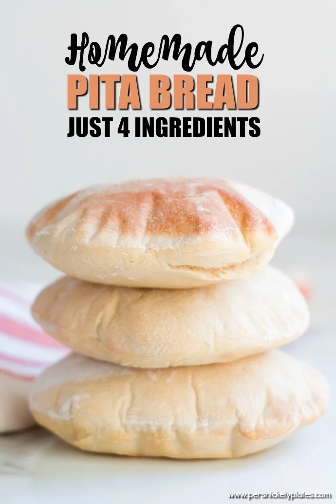 stack of 3 homemade pita breads with text overlay