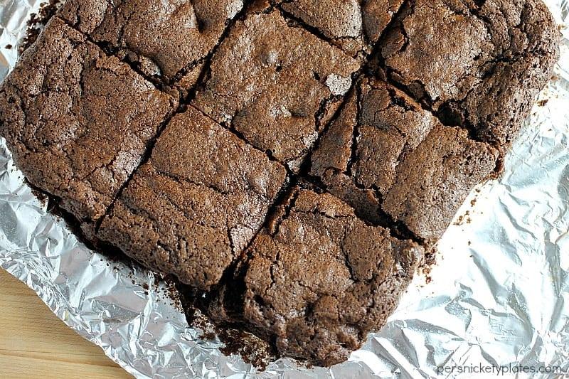 sliced chocolate brownies on tin foil