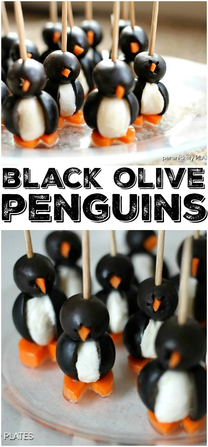 These Olive Penguins are made with black olives, mozzarella balls, and carrots. They are an adorable and fun appetizer, perfect for game day or small gatherings. These delicious poppers are almost too cute to eat! | www.persnicketyplates.com