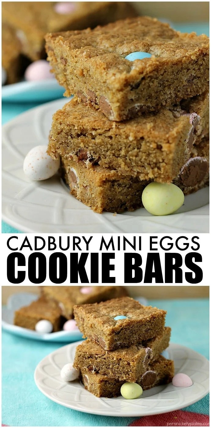 Cadbury Mini Eggs Cookie Bars! Every year I look forward to Cadbury Mini Eggs showing up in stores. I love them plain but they're even better when you smash them up and bake them into a cookie bar! | www.persnicketyplates.com #easter #easterdessert #cookiebars #dessert #easyrecipe