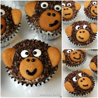 "Adorable Monkey Cupcakes! Homemade chocolate cupcakes with chocolate sugar ""fur"" and vanilla wafer ears! Perfect for a monkey themed birthday party! 