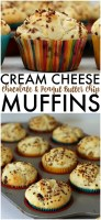 Cream Cheese Chocolate & Peanut Butter Chip Muffins - a deliciously soft muffin that verges on a cupcake!