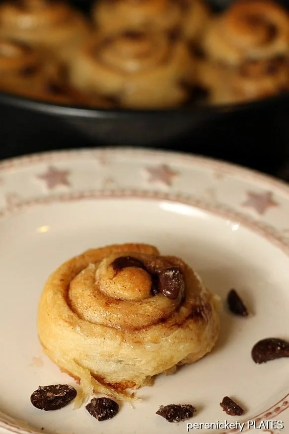 Chocolate Chip Cinnamon Rolls will be your new best brunch idea! These simple cinnamon rolls take less than 10 minutes to prep and seconds to eat!