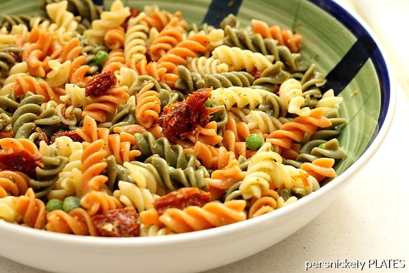 Pesto Pasta with Peas & Sun Dried Tomatoes | Persnickety Plates