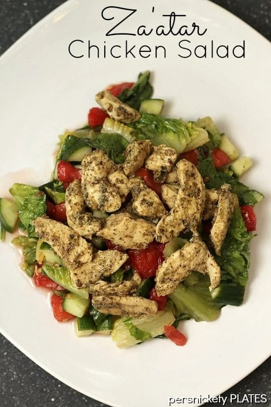 Chicken breasts marinated in za'atar, a Middle Eastern spice, and lemon juice, then topped on a lemon and oil salad. Simple, healthy, and full of flavor!