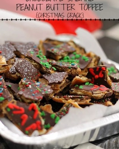 "This Chocolate Saltine Peanut Butter Toffee is so easy to make and so addictive, you'll quickly see why it's called ""Christmas Crack"". 