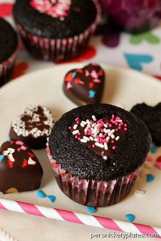 Ghirardelli Heart Cut-Out Dark Chocolate Cupcakes | Persnickety Plates