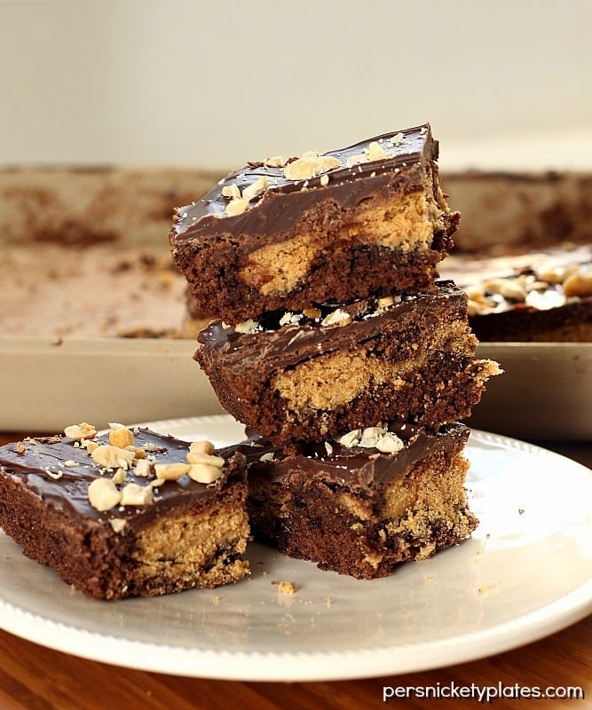 Classic brownies stuffed with Nutter Butters, frosted, then sprinkled with peanuts   Persnickety Plates