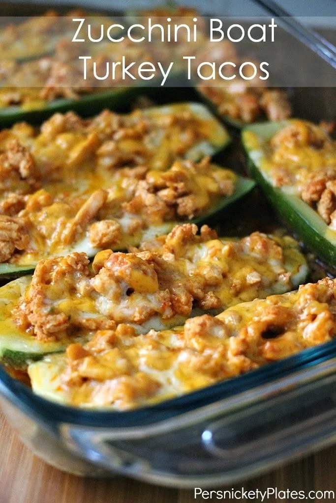 Zucchini Boat Turkey Tacos | Persnickety Plates