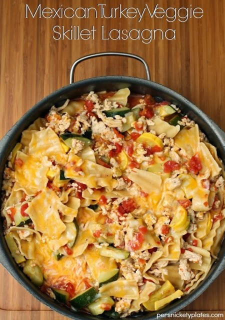 Mexican Turkey Veggie Skillet Lasanga | Persnickety Plates
