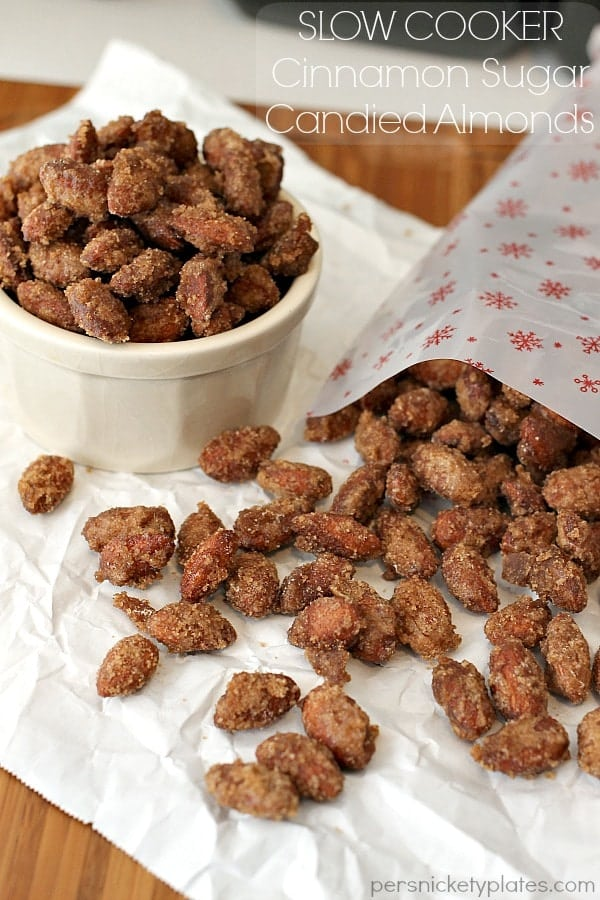 Slow Cooker Cinnamon Sugared Candied Almonds - better than the mall! | Persnickety Plates