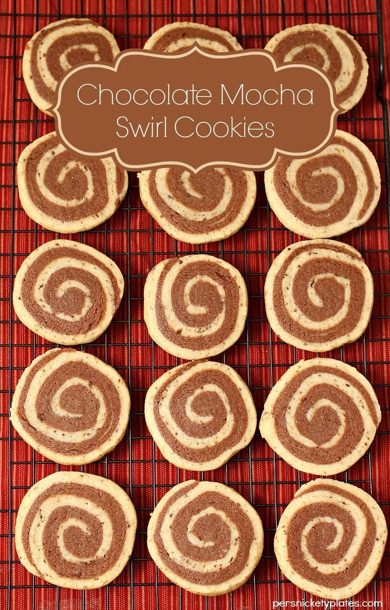 Chocolate and mocha swirled together in a pretty pinwheel cookie. These Chocolate Mocha Swirl Cookies look great on the table for the holidays! | www.persnicketyplates.com