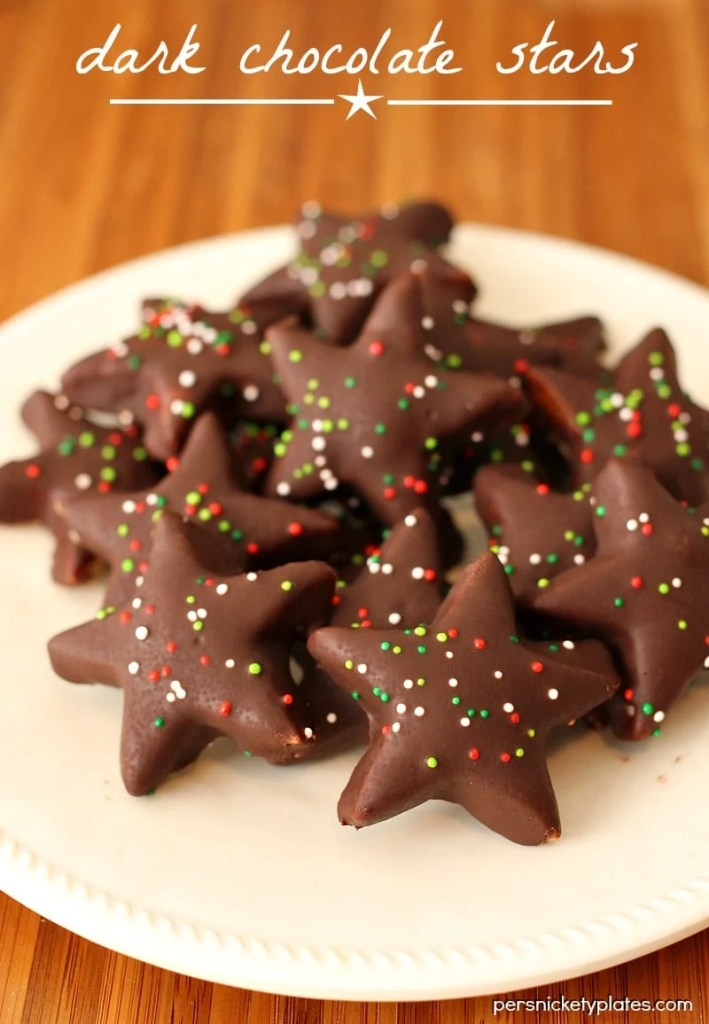 4 ingredient shortbread cookies perfect for cutting out shapes then dipping in dark chocolate. A Trader Joe's copycat!   Persnickety Plates