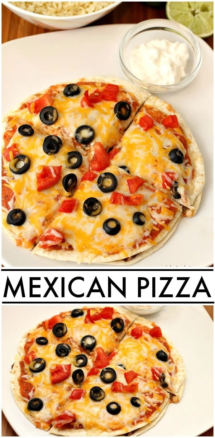 Homemade Mexican Pizza made with ground turkey and refried black beans is so good! You won't miss Taco Bell's version at all. | www.persnicketyplates.com
